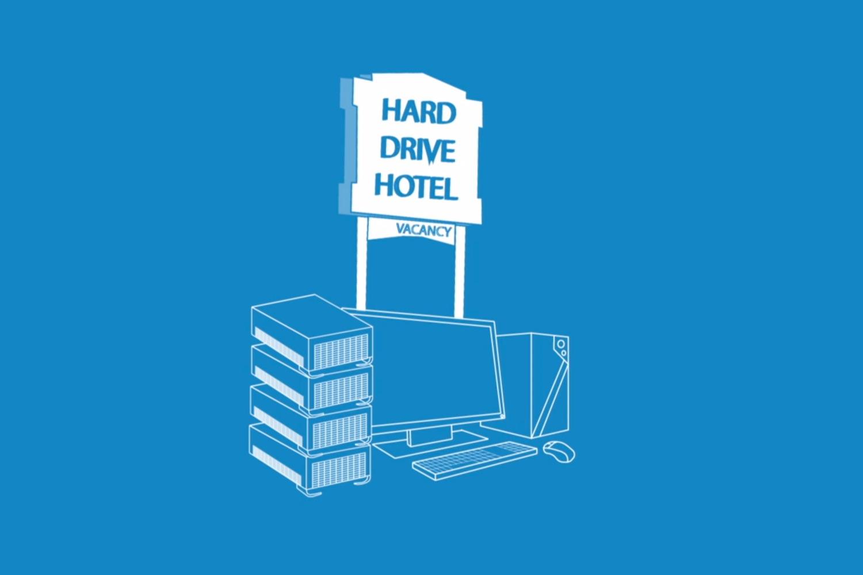 Still aus dem Erklärvideo von Storj.io, das das Hard Drive Hotel zeigt. Foto: Storj.io