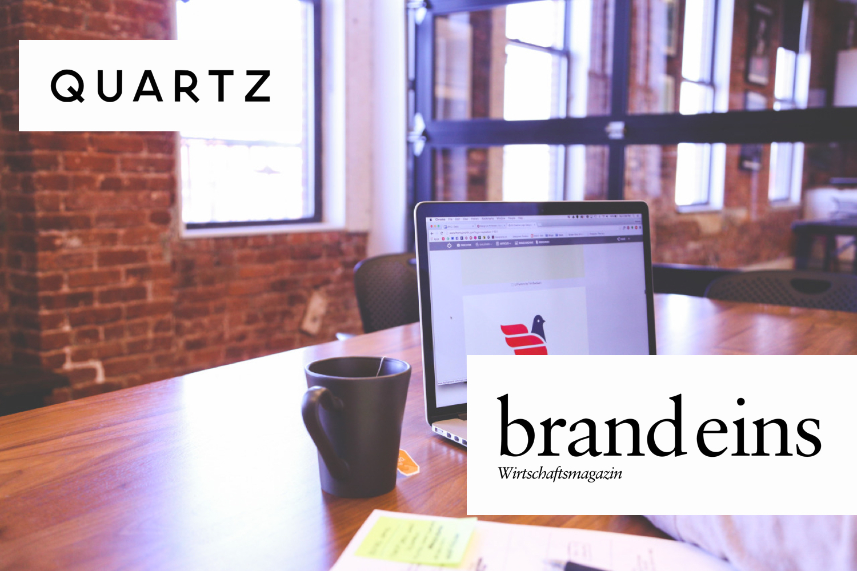 Quartz und brandeins als Gedanken in einem Startup. Foto: Startupstockphotos.com