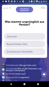 Frage-Layout bei HQ Trivia. Es gibt immer drei Antwortmöglichkeiten. Screenshot: HQ Trivia