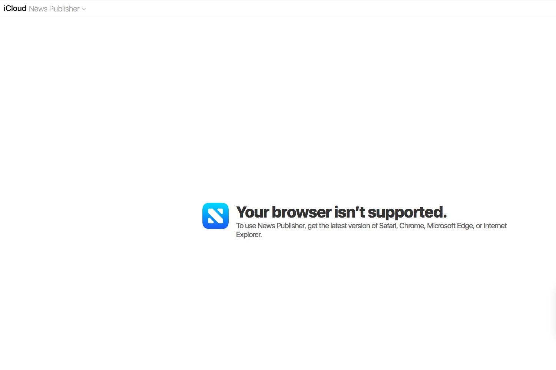 iCloud mag Firefox nicht, wenn es um den News Publisher geht. Foto: Screenshot von icloud.com