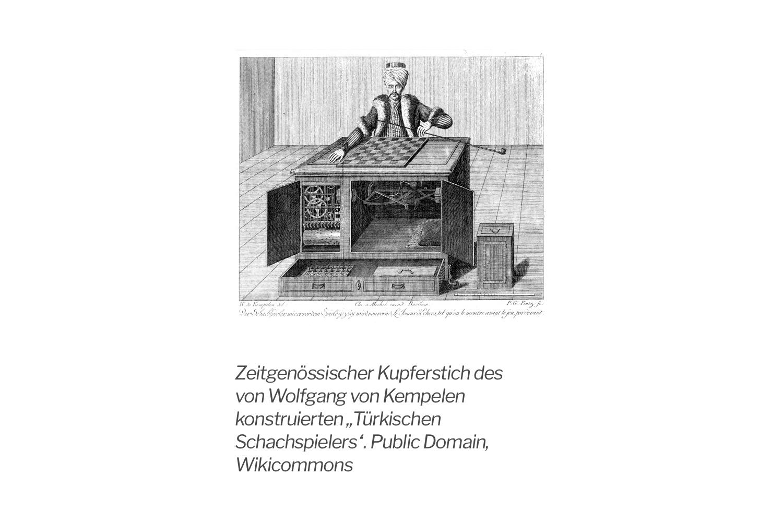 Zeitgenössische Abbildung des Schachtürken. Foto: Wikicommons