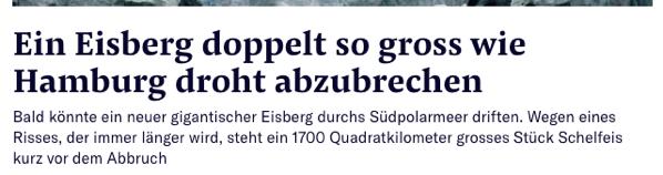Eisberg doppelt so groß wie Hamburg
